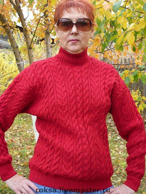 """Пуловер вязаный """"Красный-прекрасный"""" - пуловер с косами,пуловер спицами"""
