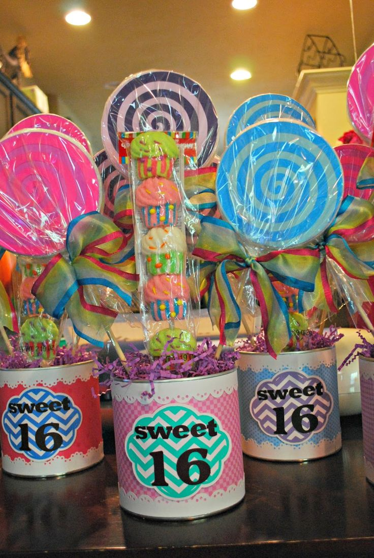 Up on tippy toes: Sweet 16 Candy Centerpieces  https://www.djs.durban