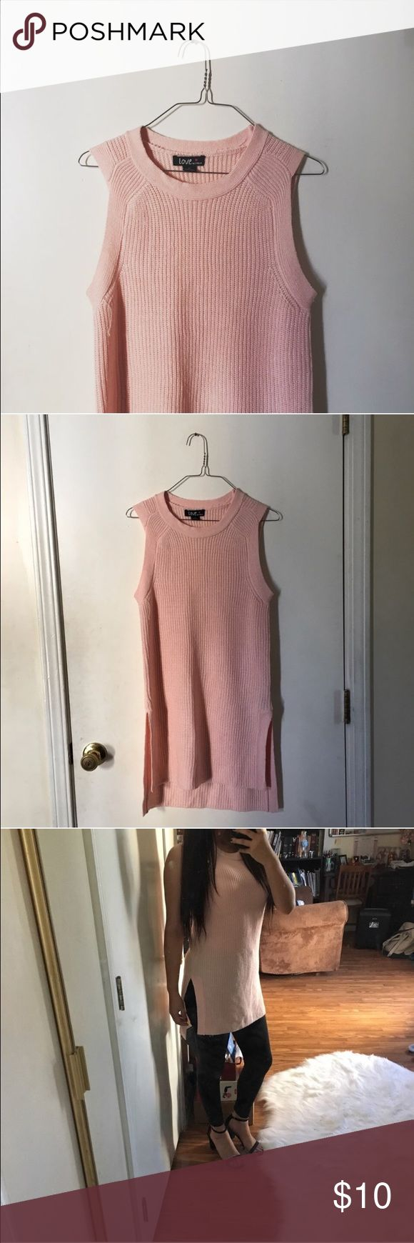 Sleeveless sweater shirt Brand new without tags baby pink ribbed sleeveless  shirt 😍 has slide slits and is very comfy ! Size M. Sweaters