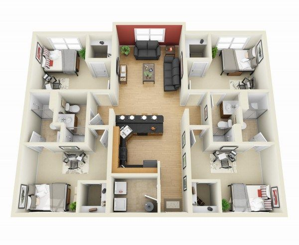 4 Bedroom Apartment House Plans 3d House Plans Apartment Floor Plans House Plans