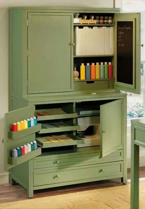 Old armoire turned craft cabinet