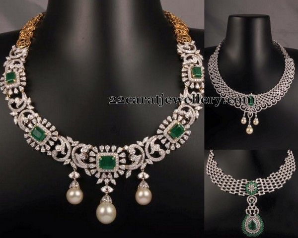 Jewellery Designs: Emerald Stone Diamond Sets