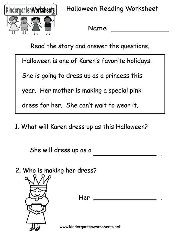 Reading With Questions Worksheets : Kindergarten halloween reading worksheet printable free