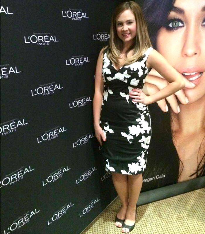 Dressed up for a L'Oreal event in Liza Emanuele