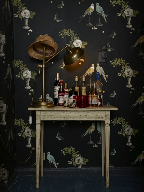 Perroquet wallpaper by Nina Campbell. Quirky hand painted and bohemian all in one...I am a bit OBSESSED :-)
