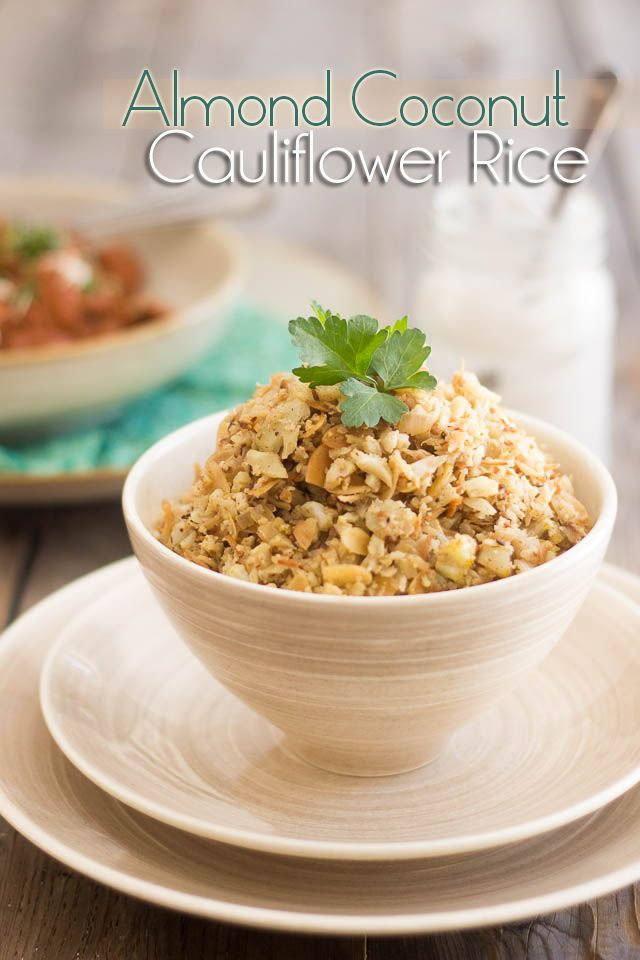 Almond Coconut Cauliflower Rice | www.thehealthyfoodie.com (with lime, garam masala, ginger, curry powder, onion)