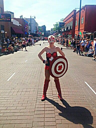 Diy Captain Canada aka captain canuck. Competing in the Queen of the Vine for hueys in the Beale Street Wine Race in Memphis, TN