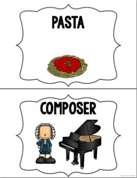Pasta or Composer A GREAT activity for subs, or when you need a time filler. #mrssmusicroom