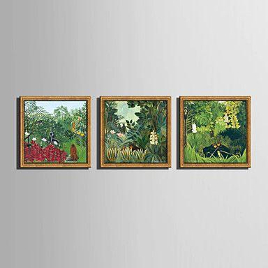 【今だけ☆送料無料】現代 アートなモダン キャンバスアート アートパネル 額入り 自然・風景画3枚で1セット ジャングル 熱帯雨林 景色 野生動物【納期】お取り寄せ2~3週間前後で発送予定