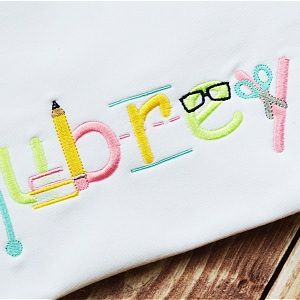 All Appliques - School Embroidery Font