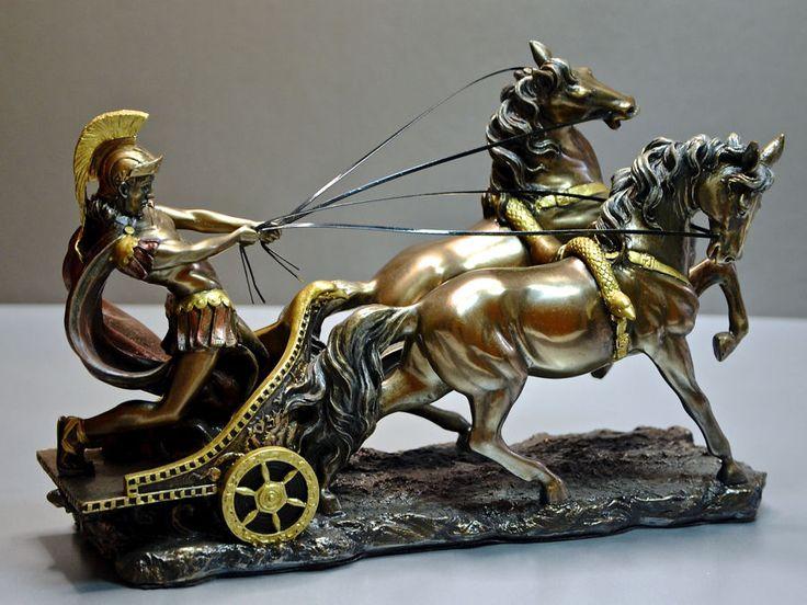 Statua in resina bronzata romano su biga