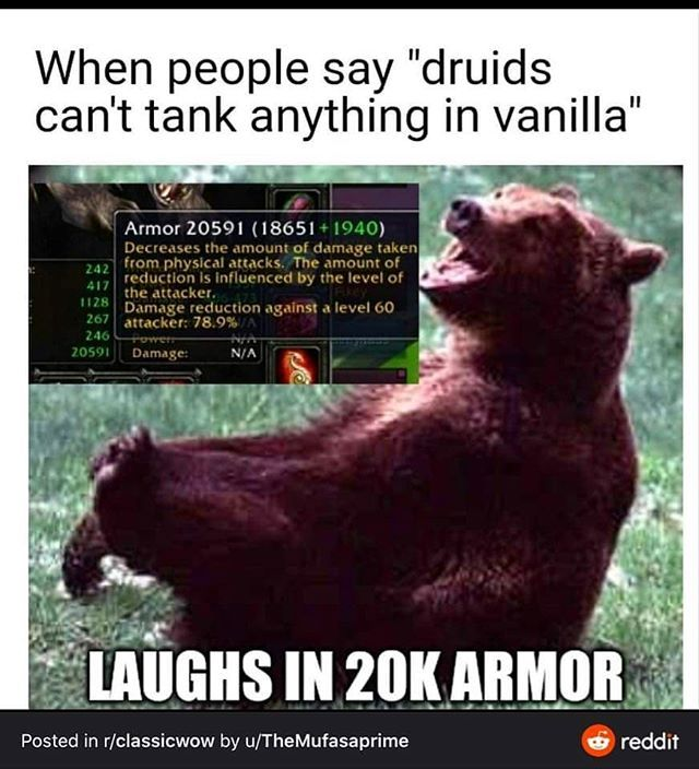 Unbearable Unknown Artist If You Know Him Tag Him Please Wowclassic Wowclassicdruid Druidworld In 2020 World Of Warcraft Warcraft Movie Craft Memes