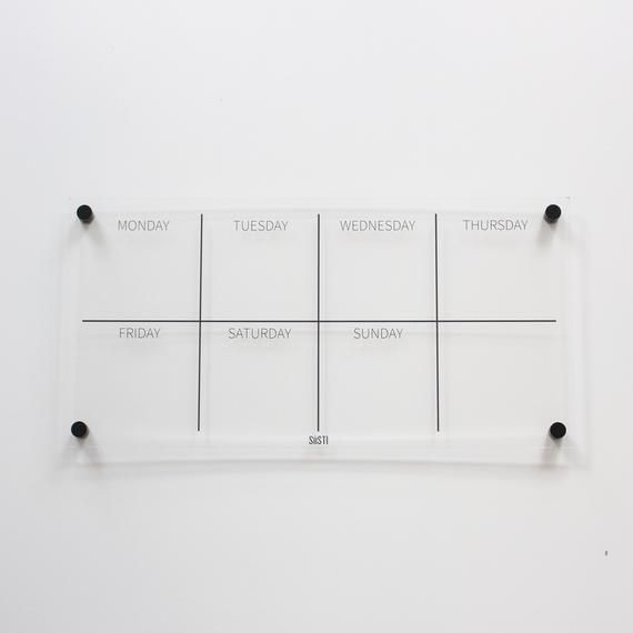 Clear Acrylic Weekly Wall Calendar Planner Landscape Etsy Weekly Wall Calendar Clear Acrylic Sheet Wall Calendar