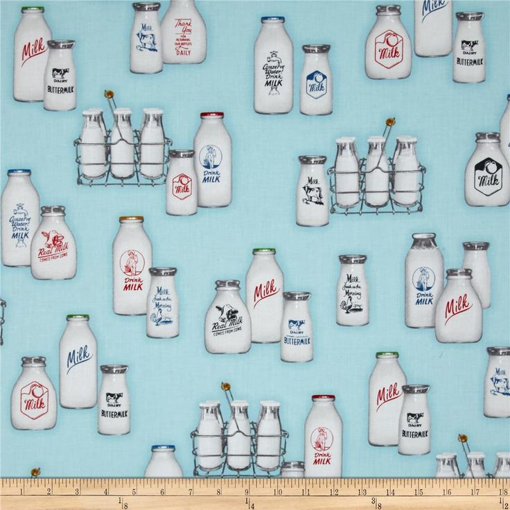 Robert Kaufman Down on the Farm Milk Bottles Aqua from @fabricdotcom  Designed by Studio RK for Robert Kaufman, this cotton print fabric is perfect for quilting, craft projects, apparel and home decor accents. Colors include black, white, shades of grey, shades of red, shades of blue, shades of green, shades of brown, and shades of aqua.