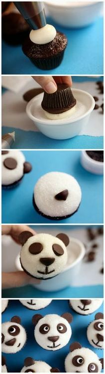 Panda Bear Cupcakes [Recipe & Tutorial]: so easy using chocolate chips for eyes, ears, nose + chocolate sprinkles for mouth!