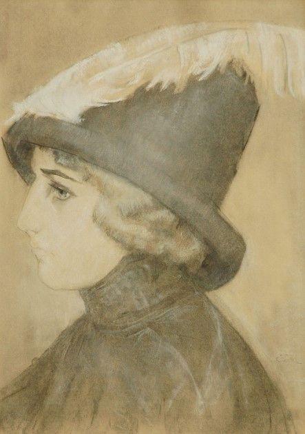 Leendert 'Leo' Gestel (Woerden 1881-1941 Hilversum) Vrouw met hoed - Kunsthandel Simonis en Buunk, Ede (Nederland).