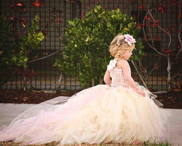Champagne Tulle Flower Girl Dress