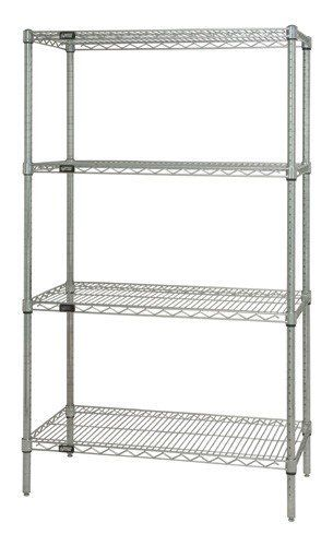 "Chrome Wire Shelving 4-Shelf Unit - WR86-2460C - 24"" x 60"" x 86"" by Quantum Storage Systems. $229.00. Heavy-duty Chrome Wire Shelving Starter Kits allow up to 800 lb. capacity per shelf. Starter Kits come complete with 4 posts and 4 wire shelves. Wire Shelves are all welded construction with additional wire trussing for high strength characteristics. Wire allows air to circulate and light to penetrate for increased product visibility and minimal dirt accumulation. Split conic..."