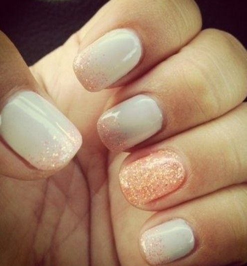White Nails with Peach Glitter.