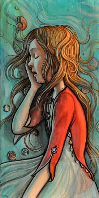 Gorgeous Illustrations by Kelly Vivanco: In My Dreams, Kelly Vivanco, 3D Character, Color, Illustration, Little Girls Rooms, Painting, Drawing, Sweet Dreams