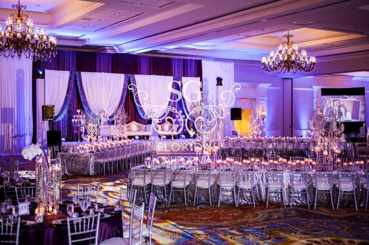 Suhaag Garden Weddings, Florida Indian Wedding Decorator, California Indian Wedding Decorator, San Fransisco Indian Weddings, Crystal Candelabras with White Flowers, Reception Stage Decor, Pakistani Wedding, Valima Stage, Walima Stage, Unique Reception Designs, Modern Reception Centerpieces, Reception Bride and Groom Focal Point, Textured Lighting, Plum Silver & White, Silver Sequins, Silver Manzanitas, Crystals, Reception Stage Furniture, Table Formations, Estate Tables