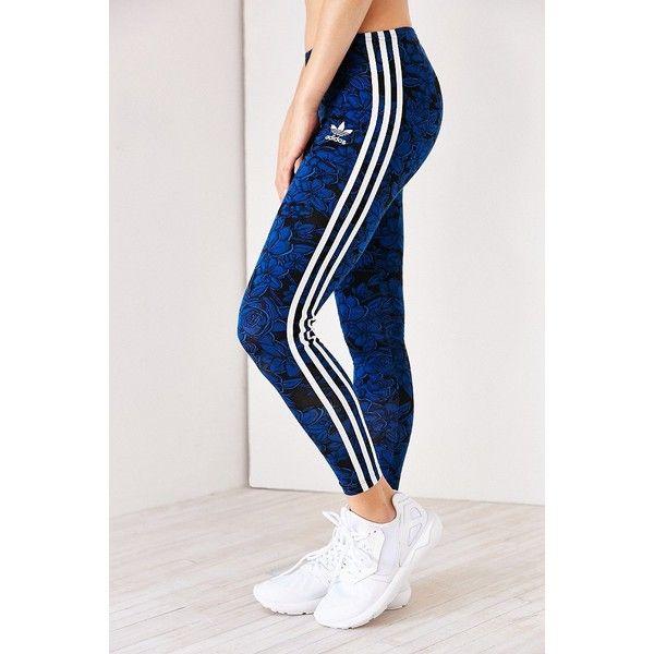 adidas Blue Floral Legging ($35) ❤ liked on Polyvore featuring pants, leggings, flower print pants, floral leggings, floral pants, stripe leggings and fringe pants
