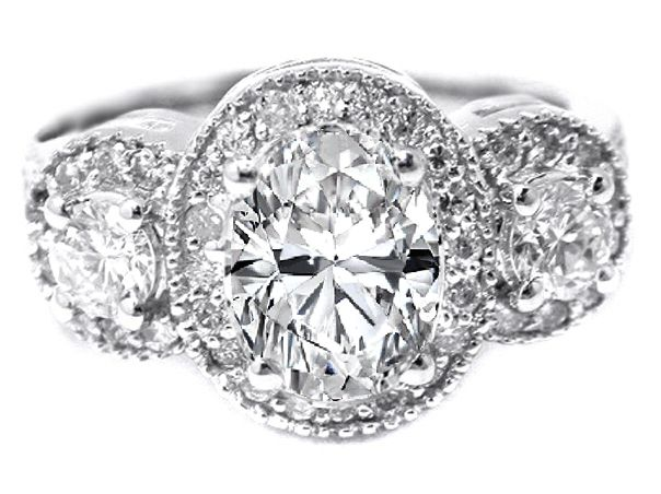 Three Stone Oval Diamond Halo Engagement Ring in 14K White Gold 0.89