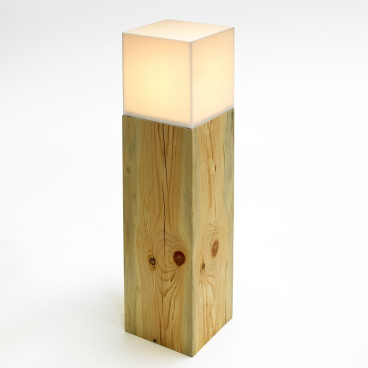 Aura Tall Lamp: Blue-stained pine base with acrylic top