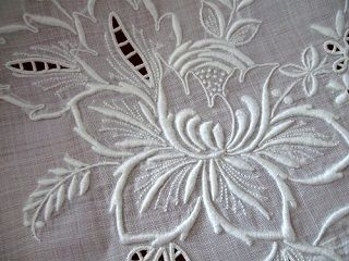 Vintage Linen Banquet Tablecloth Whitework Embroidered Flowers