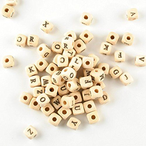 """Wadoy 500PCs 10x10mm(3/8""""x3/8"""") Natural Mixed Alphabet/ Letter """"A-Z"""" Cube Wood Beads Fashon Spacer Beads"""