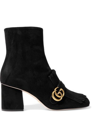 Gucci - Fringed Suede Ankle Boots - Black - IT35.5