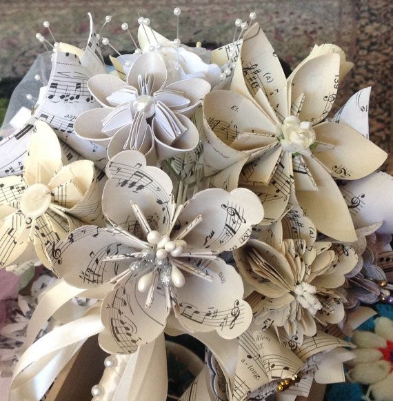 Origami Music Flowers Set of 5 by GracelinePaperStudio on Etsy