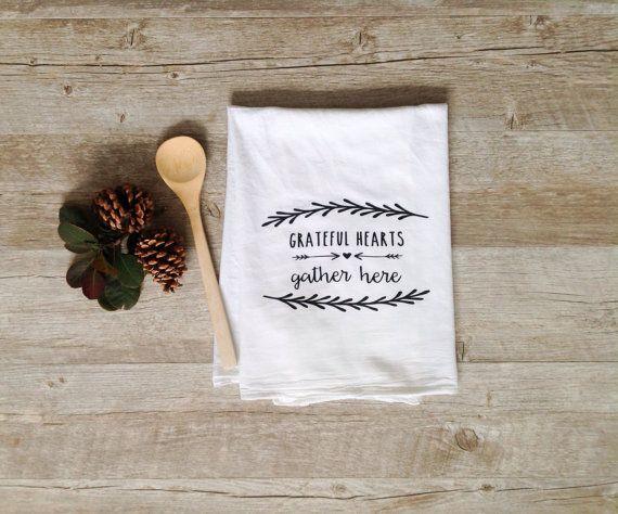 Tea Towel   Grateful Hearts Gather Here Thanksgiving Home Decor Flour Sack Kitchen  Towel Autumn Fall Holiday Farmhouse Decor