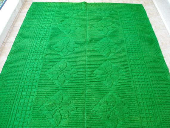 Irresistable Emerald !!! Vintage Emerald  Green Kilim Rug Wool on Wool by VintageHomeStories,