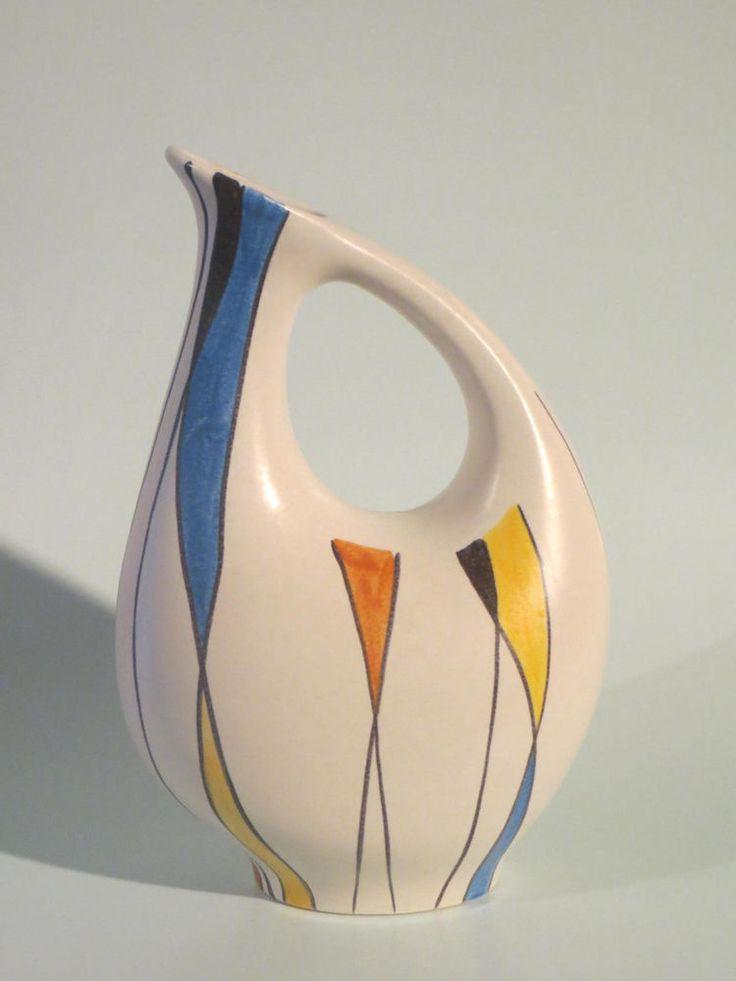 50er Jahre Keramik Vase Zeller Keramik / SCHMIDER - Form 4048 - Dekor 1818