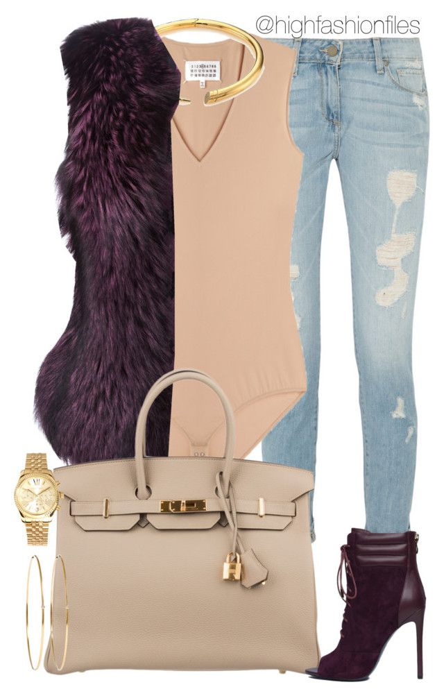 """Nude x Purple"" by highfashionfiles ❤ liked on Polyvore featuring Paige Denim, Maison Margiela, Michael Kors, Philipp Plein, Hermès and Jennifer Meyer Jewelry"