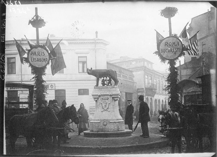 Unknown - Bucharest decked with flags in honor of the coronation of the King and Queen of Romania, 1922