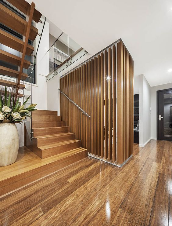 [Modern staircase - Made by Genneral Staircase. Pic Credit: Masterton Homes]    modern staircase | modern stairs | decorative screen | glass balustrade | glass stair balustrade | contemporary staircase | contemporary stairs