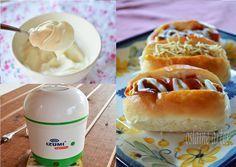 Pão de Cachorro Quente Caseiro e Molho de Alho com Iogurte Grego