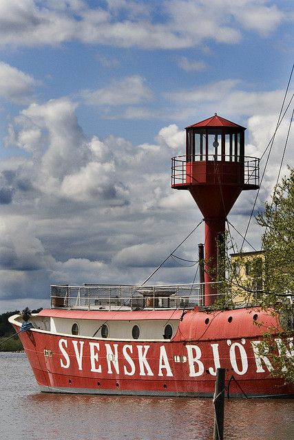 Lightship lighthouse Almagrundet Sandhamn Sweden (the ship says 'Swedish Bear' in Swedish)