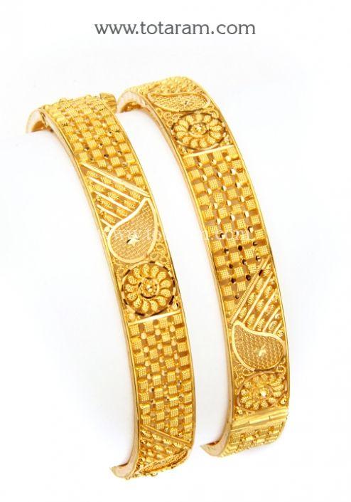 22K Gold Kada - Set of 2 (1 Pair): Totaram Jewelers: Buy Indian Gold jewelry & 18K Diamond jewelry