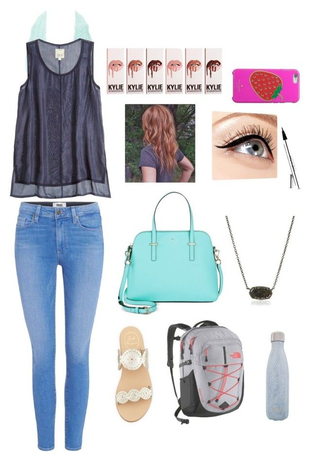 """""""school outfit"""" by mkhays on Polyvore featuring Paige Denim, Jack Rogers, Kate Spade, The North Face, Luminess Air, Kendra Scott, S'well, Charlotte Russe and Go Silk"""