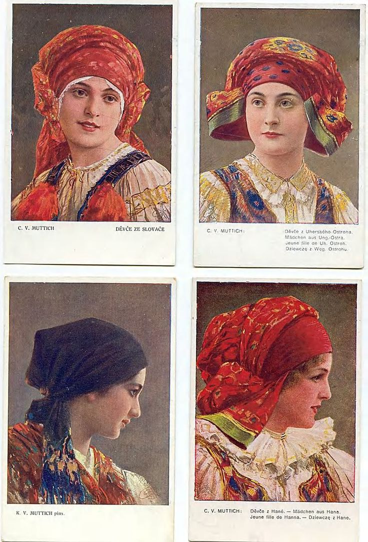 Slovak traditional head wraps. You wore a certain head covering based on if you were married or not and such.
