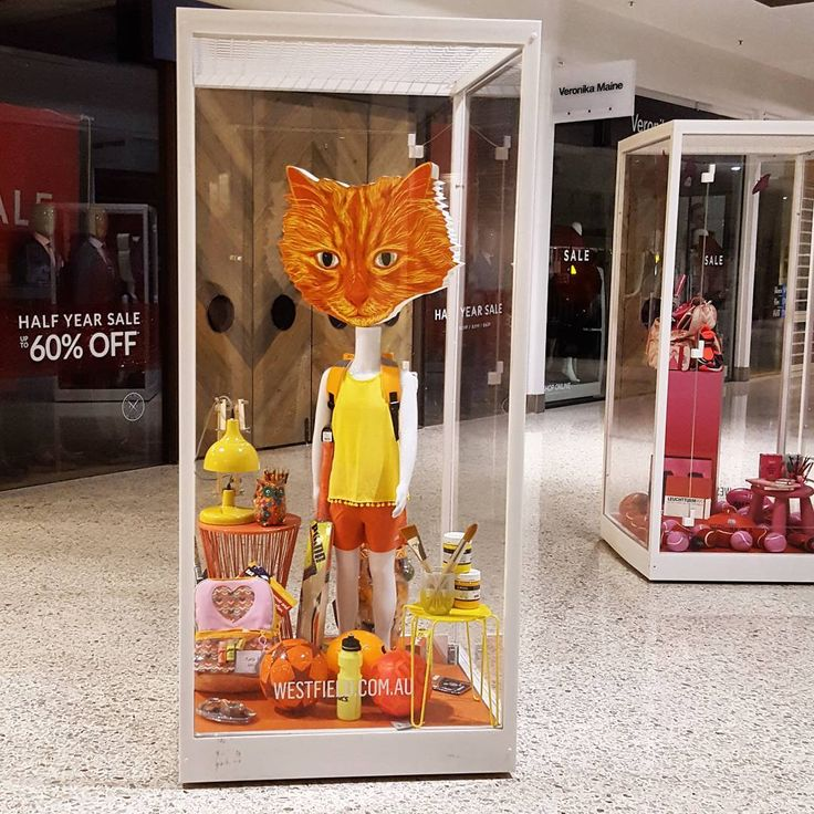 We looooved putting together this whimsical visual merchandising for 'Back to School' at @westfieldwoden. Colourful and, as always, a wee bit #quirky.   #whimsy #orange #color #cbr #visitcanberra #westfield #backtoschool #school #kids #backpack #bts #style