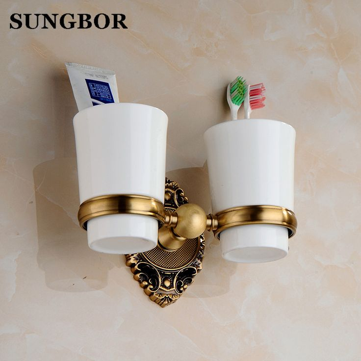 Brass Cup-toothbrush-holder Antique Double Toothbrush Tumbler Golden Ceramic Toothbrush Cup Holder Bathroom Accessories SH-6902F