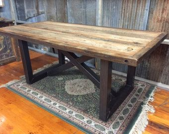 Trestle Farmhouse Table in Western Red Cedar by QuirkyDachshund
