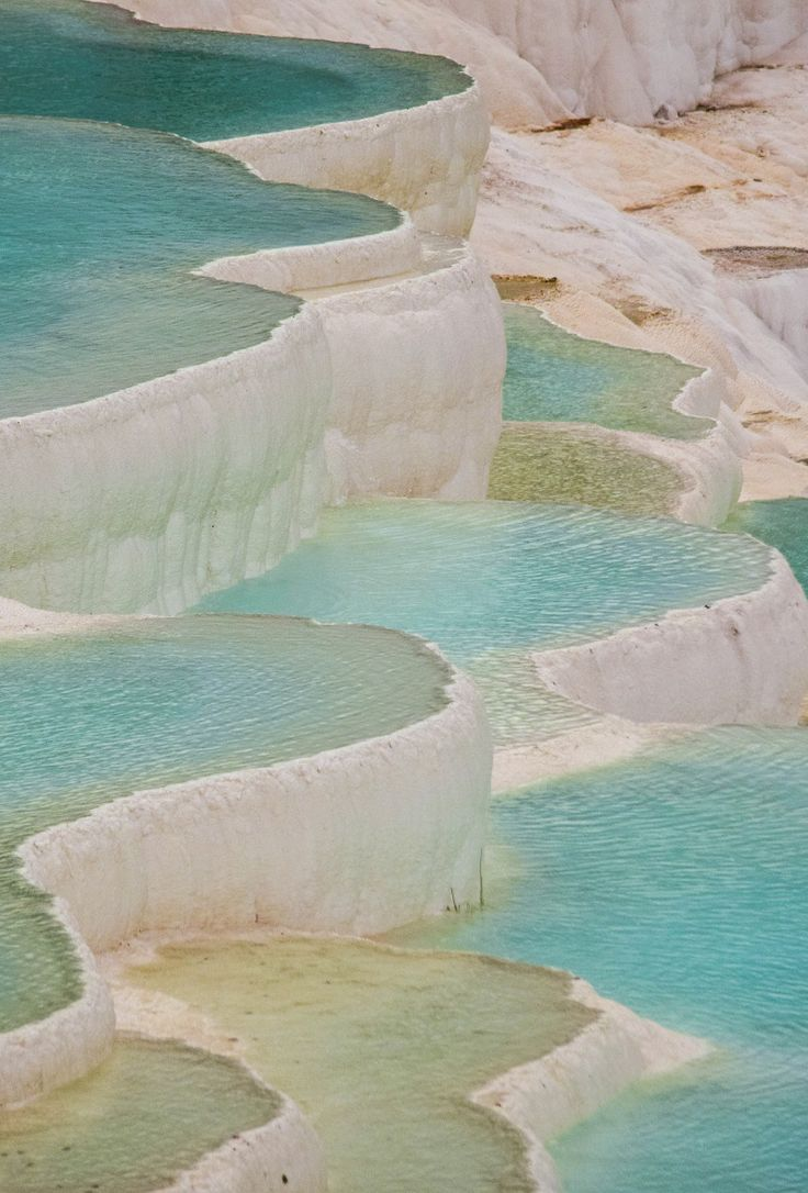 Thermal pools on the travertine terraces at Pamukkale, Turkey