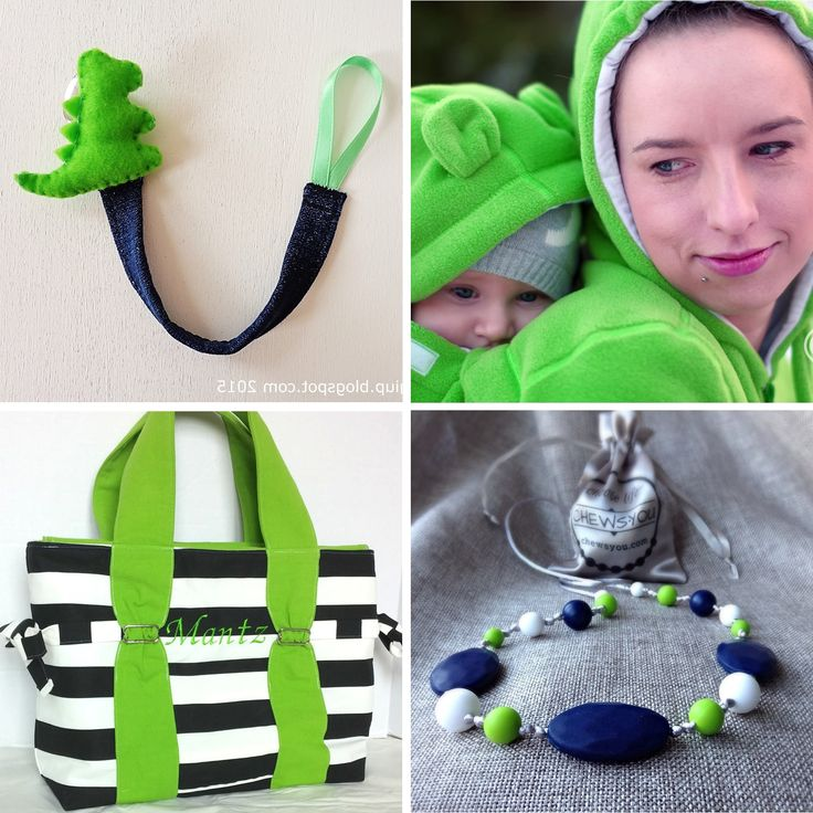 A collection of handmade ideas for a new mother who loves green: useful, unique gifts that will make her feel special: ** Pacifier clip - by RobyGiup ** Babywearing jacket - by Froggy Style ** Diaper Bag - by E. Bean Designs ** Nursing necklace - by CHEWSYOU