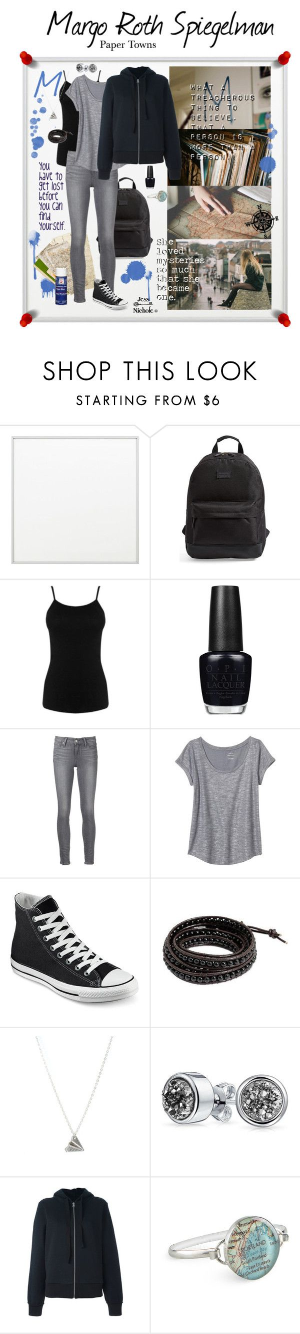 """Paper Towns: Margo Roth Spiegelman"" by jess-nichole ❤ liked on Polyvore featuring By Lassen, Rip Curl, Warehouse, OPI, Paige Denim, Banana Republic, Converse, NOVICA, Bling Jewelry and MM6 Maison Margiela"