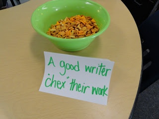 A Crafty Teacher: Writing Test exit reminder. Can put in baggies for germ prevention and can change to test taker to be generic reminder after exams (check food allergies first!)